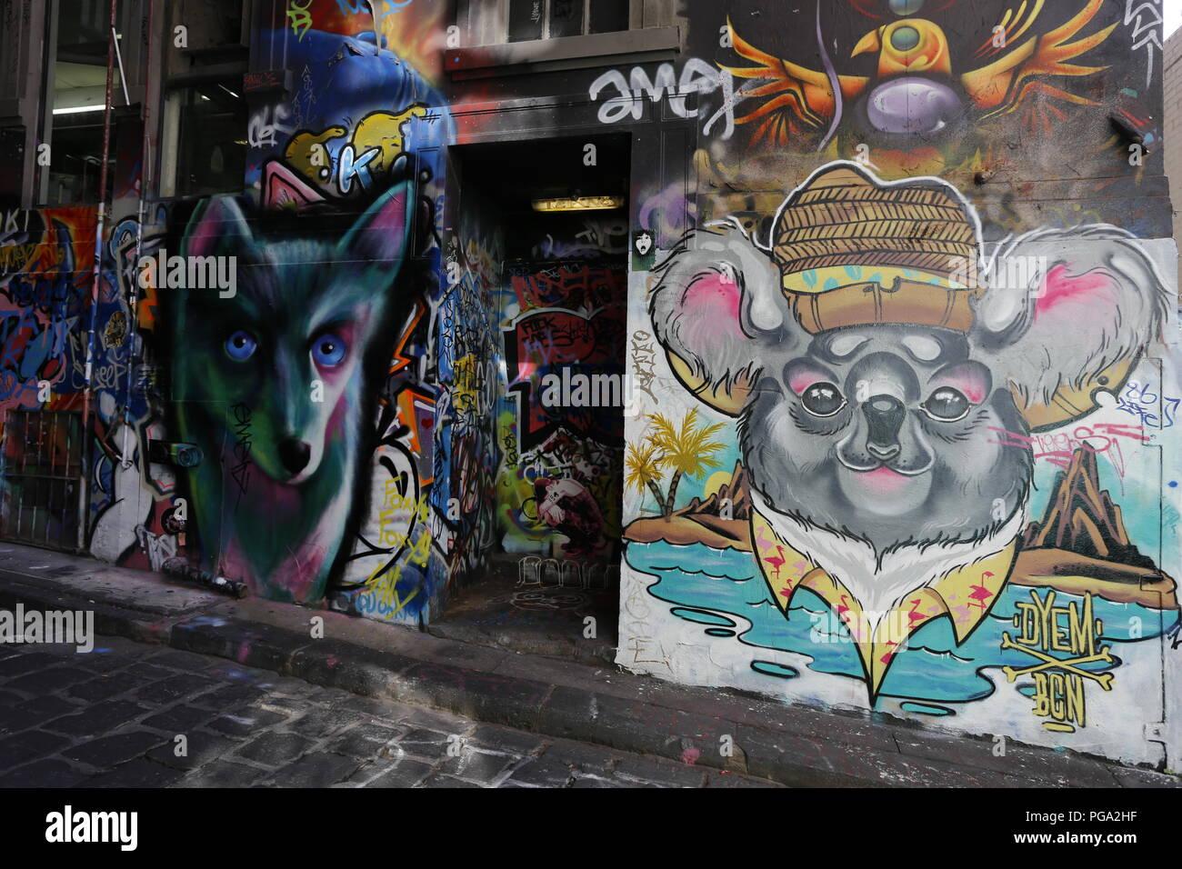 Hosier Lane, Famous Laneway Street Art (Graffiti) of Melbourne Stock Photo