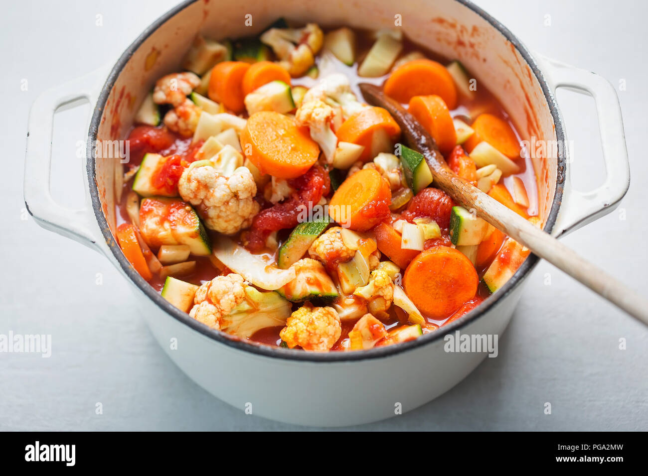Vegetable soup with ingredients carrot, cauliflower, potato and ...