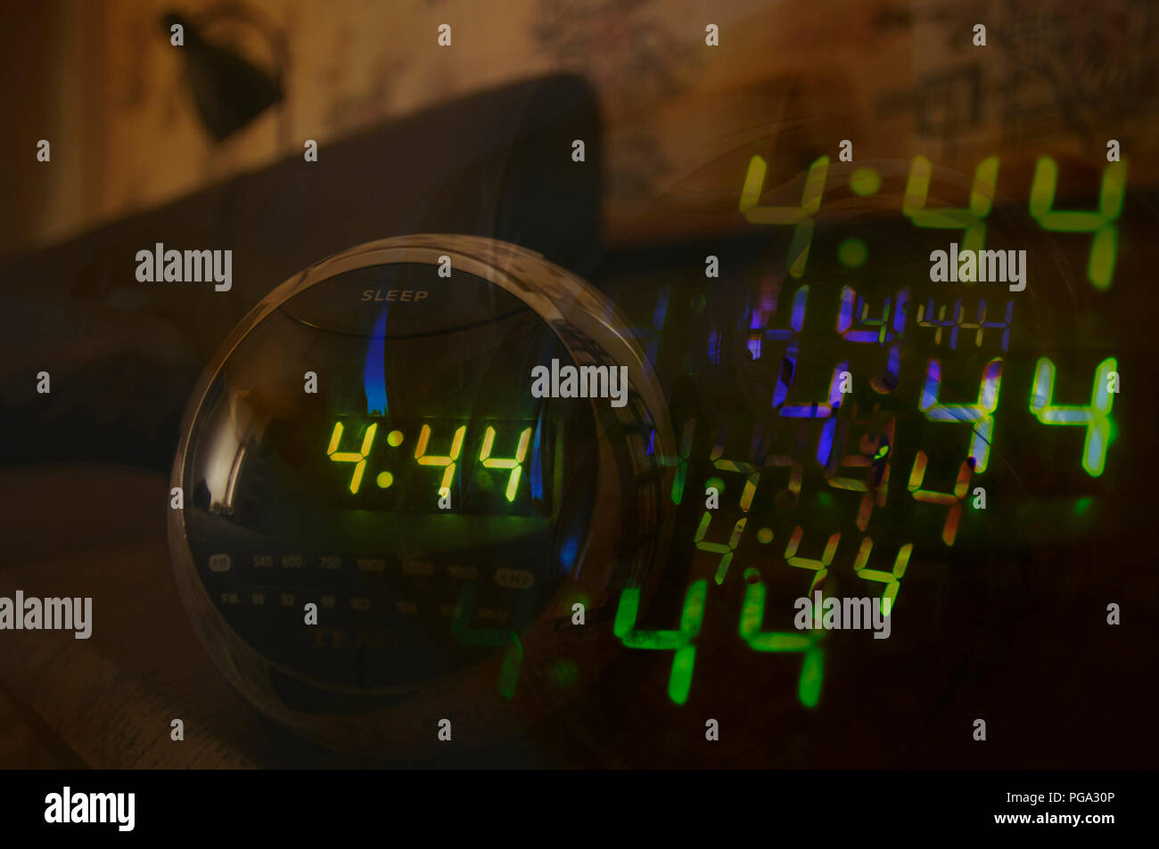 Artistic abstract images of The time 4:44 on the mind. - Stock Image