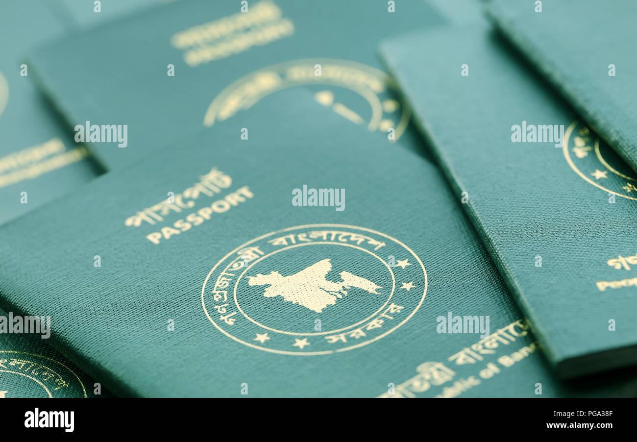 Closeup of some Bangladeshi ordinary passport - Stock Image