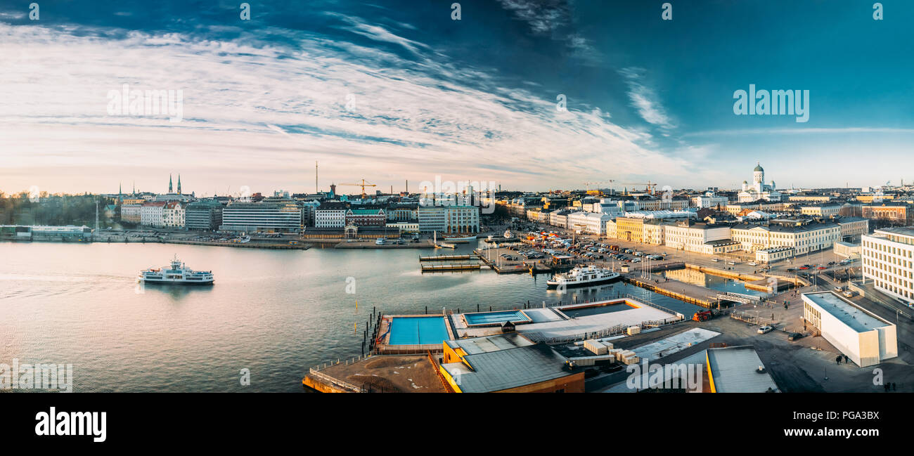 Helsinki, Finland. Panoramic Aerial View Of Market Square, Street With Presidential Palace And Helsinki Cathedral. - Stock Image