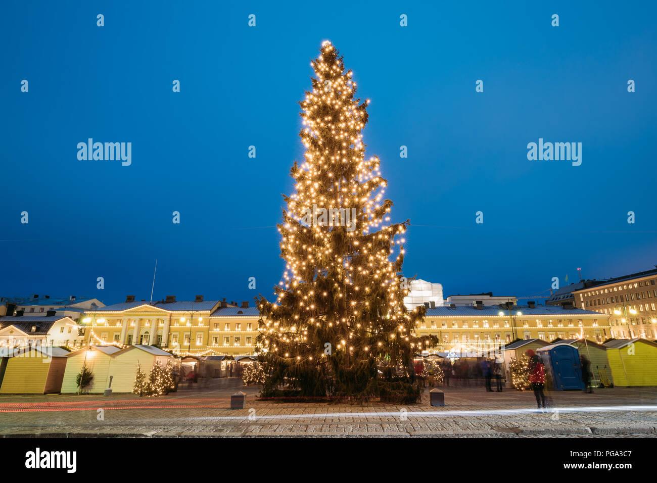 Helsinki, Finland. Evening View Of Christmas Tree On Senate Square In Evening Night Christmas Xmas Festive Illuminations. - Stock Image