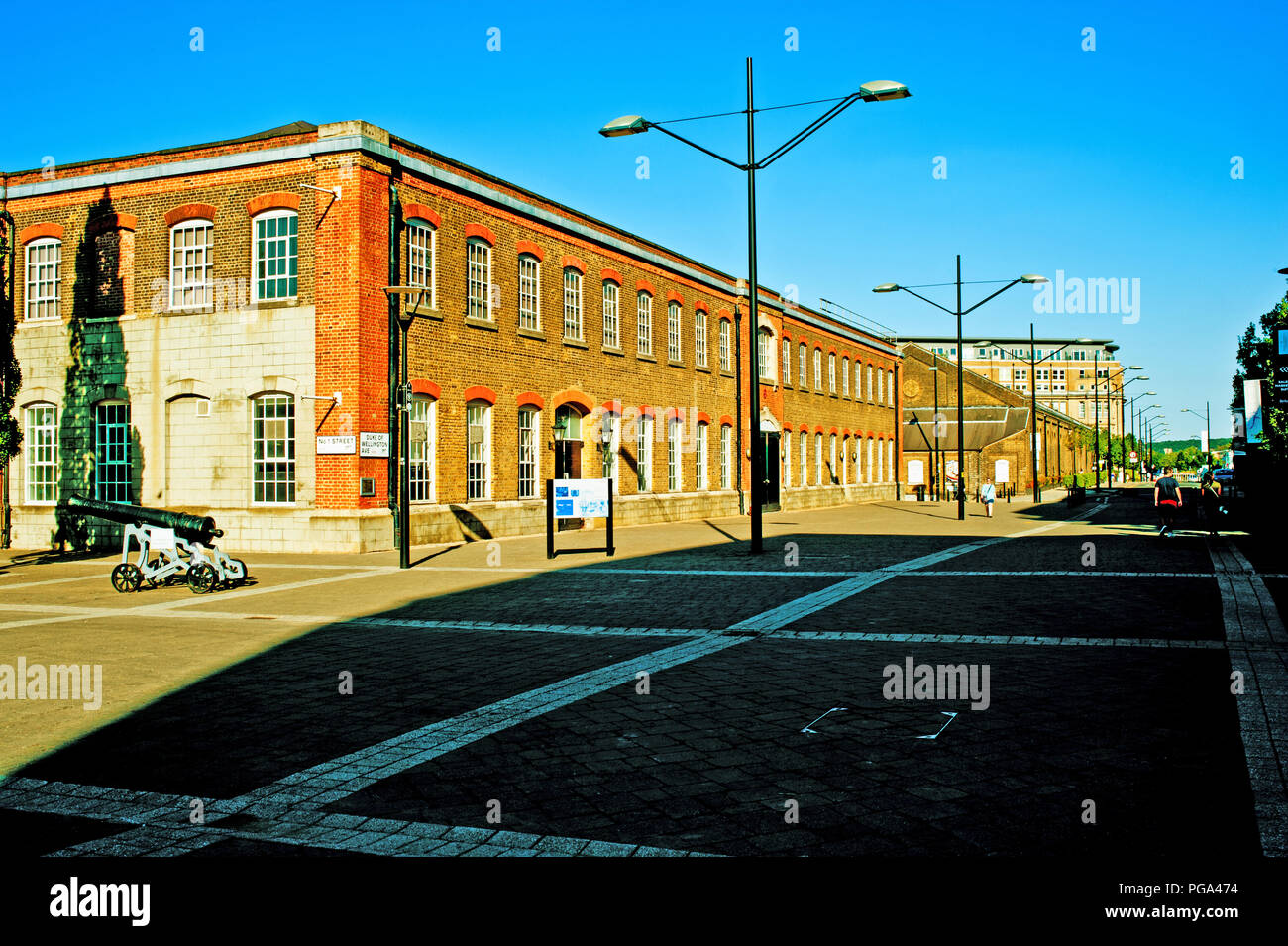 No 1 Street and Duke of Wellington Avenue, Royal Arsenal Riverside, Woolwich Arsenal , London, England - Stock Image