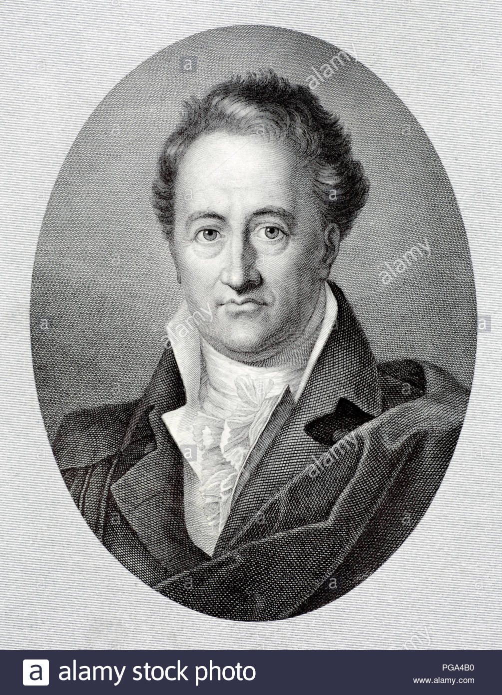 Johann Wolfgang von Goethe portrait 1749 – 1832 was a German writer and statesman. His works include four novels; epic and lyric poetry; prose and verse dramas; memoirs; an autobiography; literary and aesthetic criticism; and treatises on botany, anatomy, and colour, antique illustration from 1880 - Stock Image