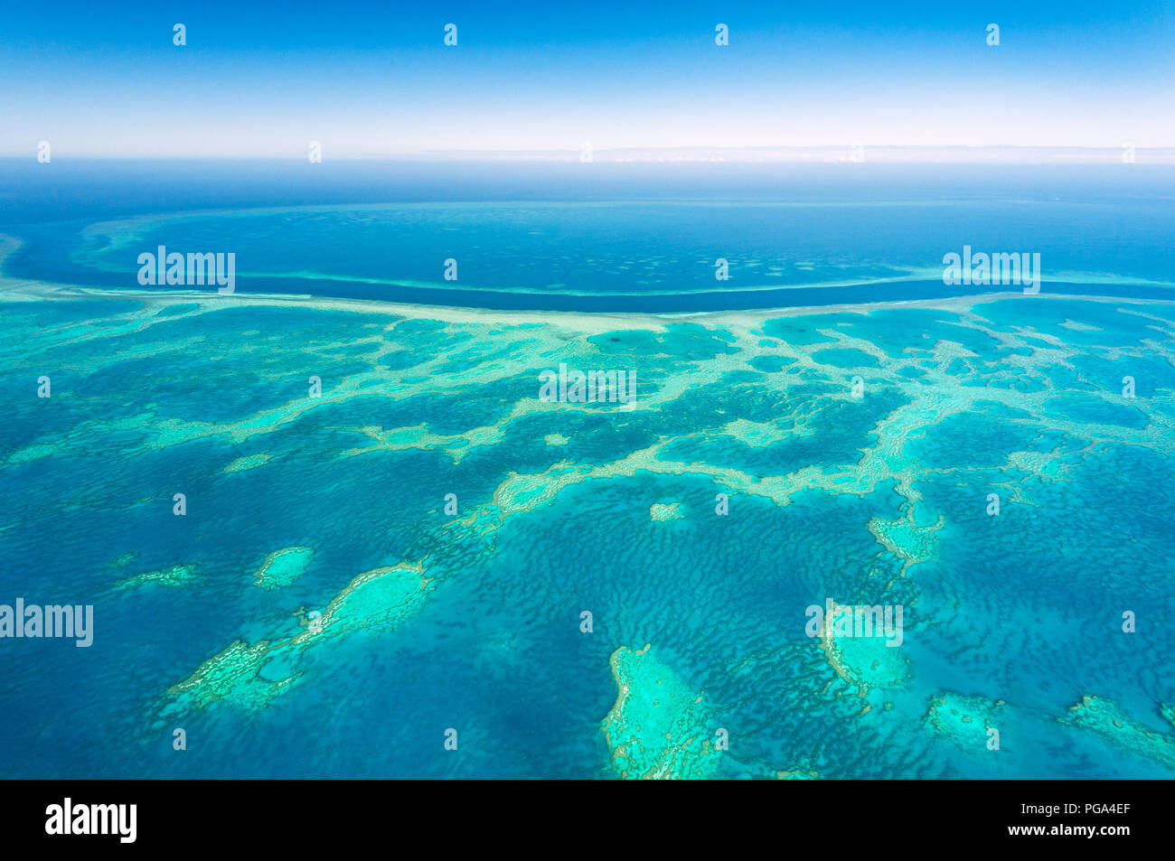 Aerial of the famous Hook & Hardy Reef in the Great Barrier Reef. - Stock Image