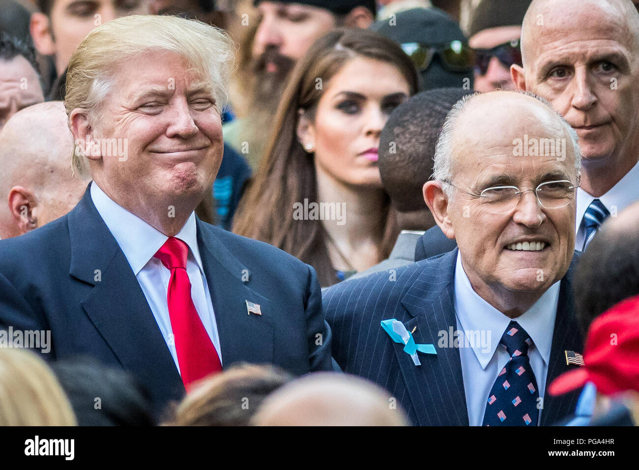 New York, USA, 11 September 2016. US President Donald Trump (candidate at the time) smiles next to former NY Major and currently legal adviser Rudolph Stock Photo