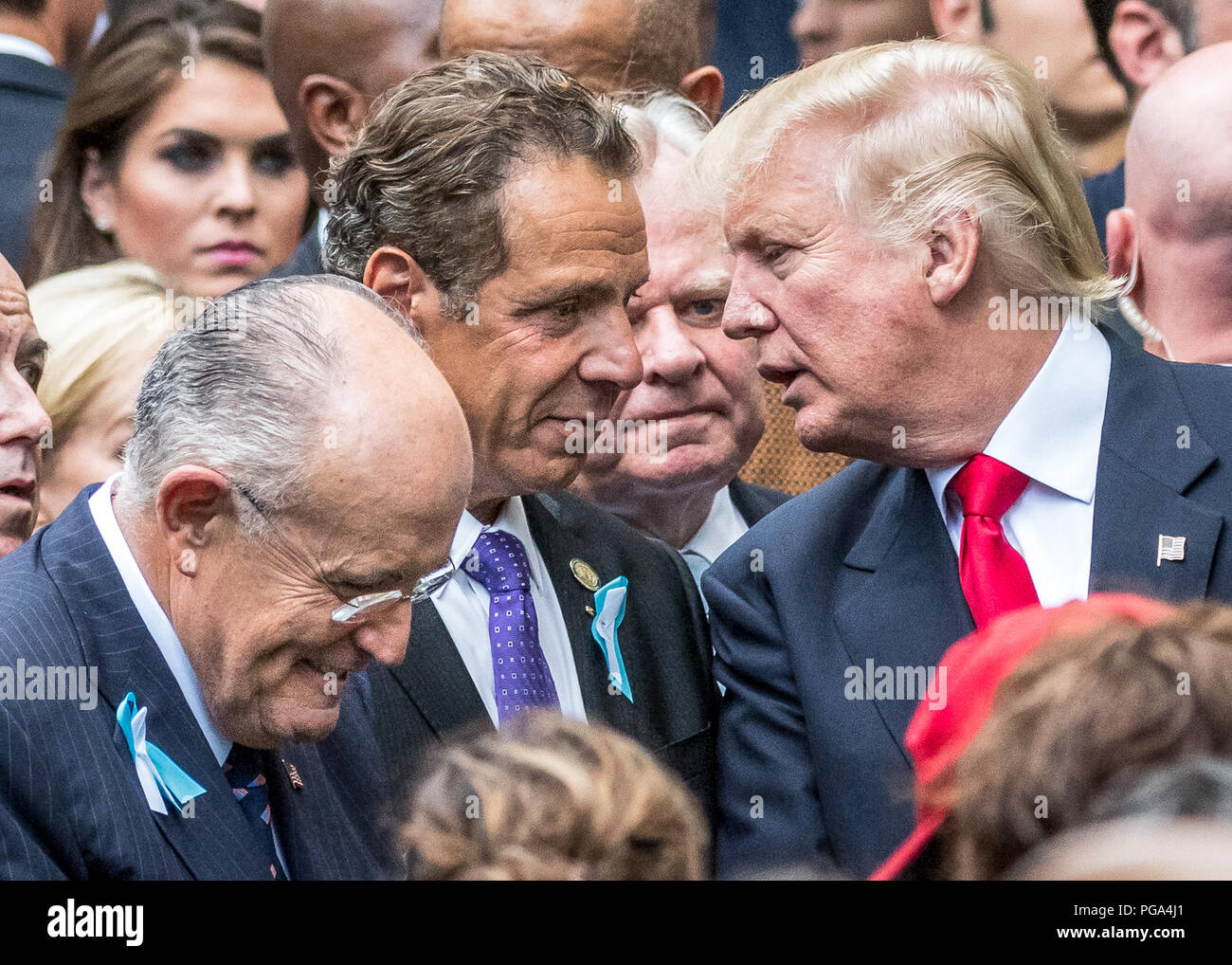 New York, USA, 11 September 2016. US President Donald Trump (candidate at the time)  talks to New York governor Andrew Cuomo next to former NY Major a - Stock Image