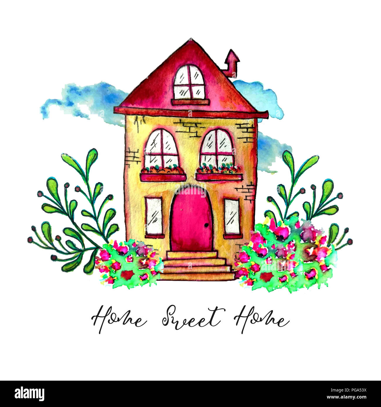 Sweet home label. Cute watercolor old building with branches and herbs isolated on white background. Hand painted card with happy house and flowers. - Stock Image