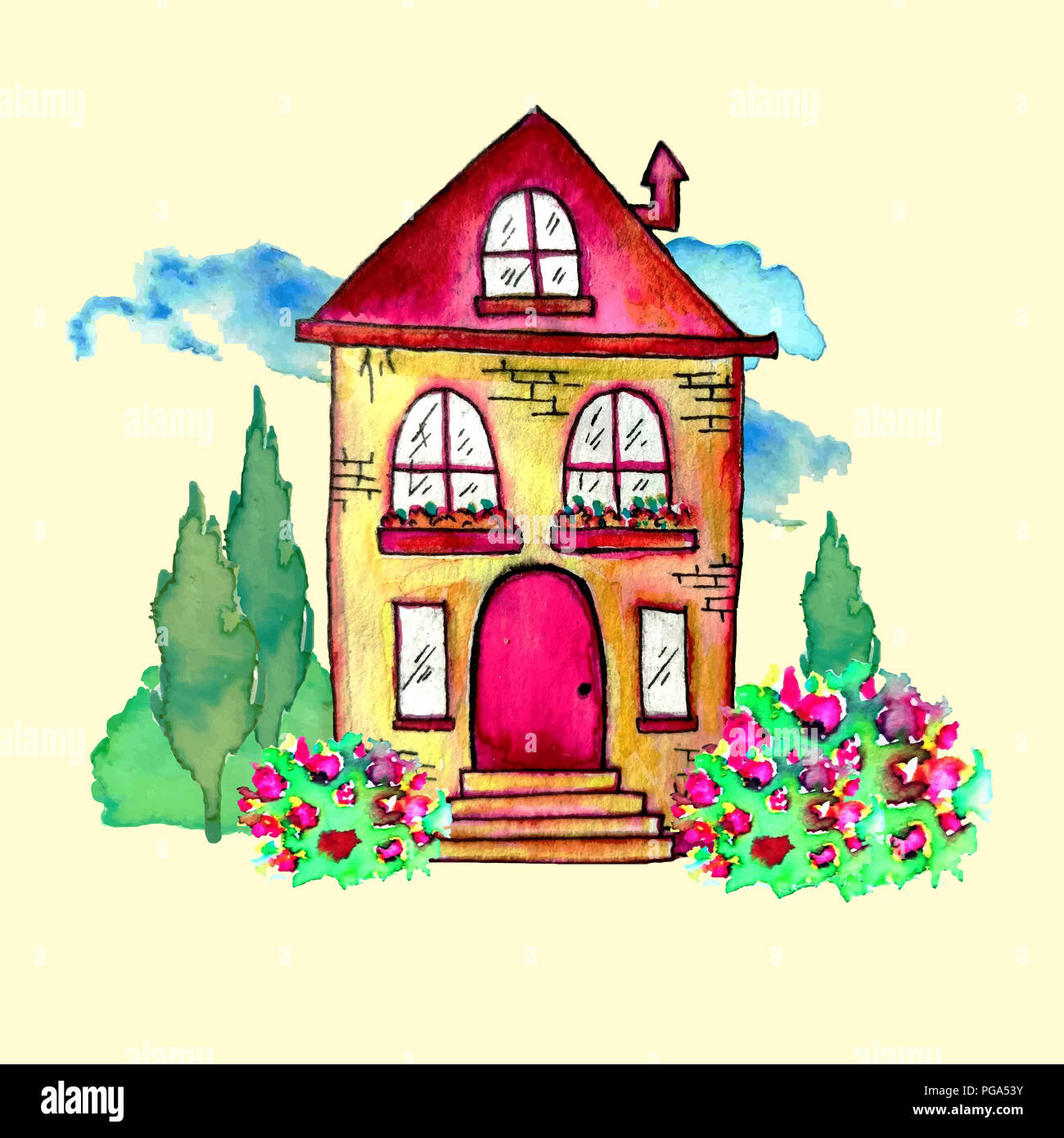 Cute watercolor landscape with house and garden. Sweet home concept. Hand painted card with happy house, blue clouds, bushes, and flowers. Raster - Stock Image