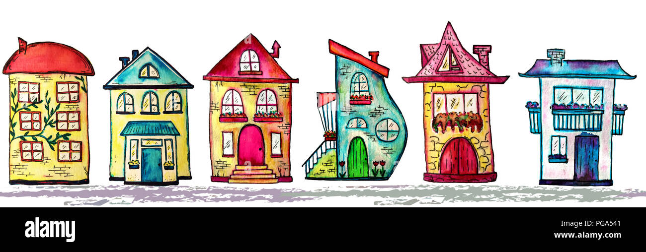 Astounding Watercolor City Seamless Line Cute Houses Background Download Free Architecture Designs Scobabritishbridgeorg