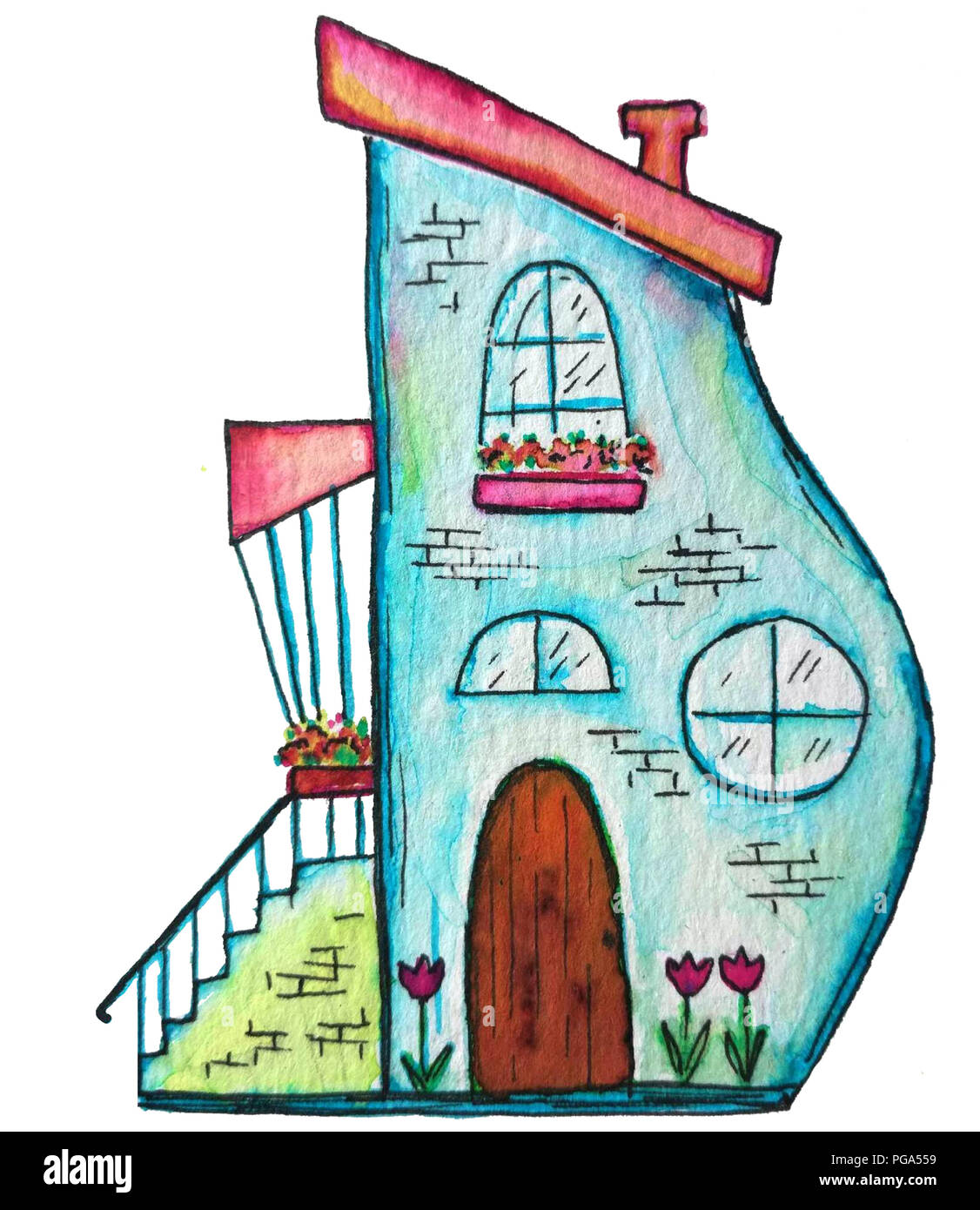 Cute fairy house watercolor illustration. Hand painted illustration can be used for cute print design for greeting holiday card or fashion design. - Stock Image