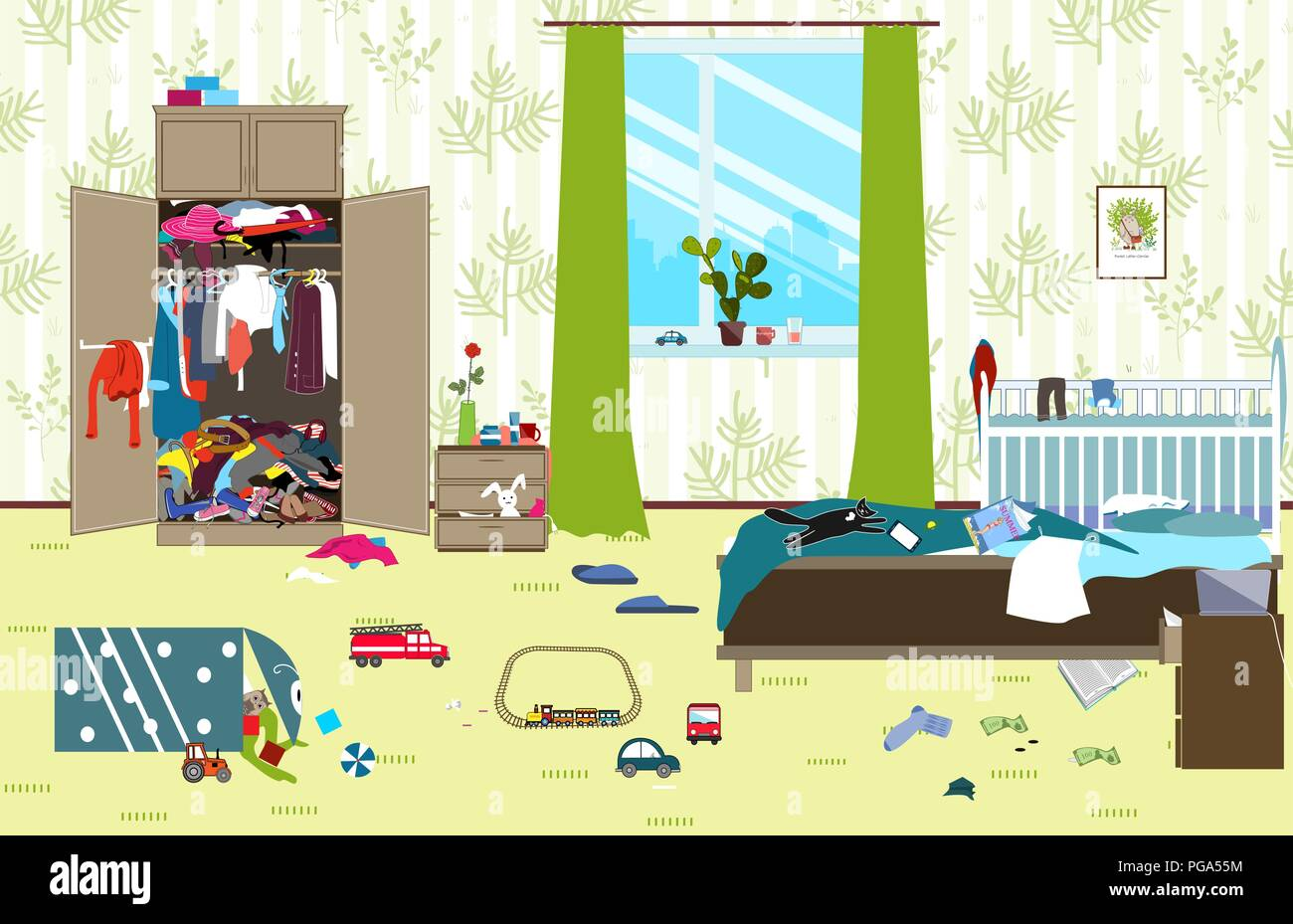 Messy room where young family with little baby lives. Untidy room. Cartoon mess in the room. Uncollected toys, things. Cleaning vector illustration. - Stock Vector