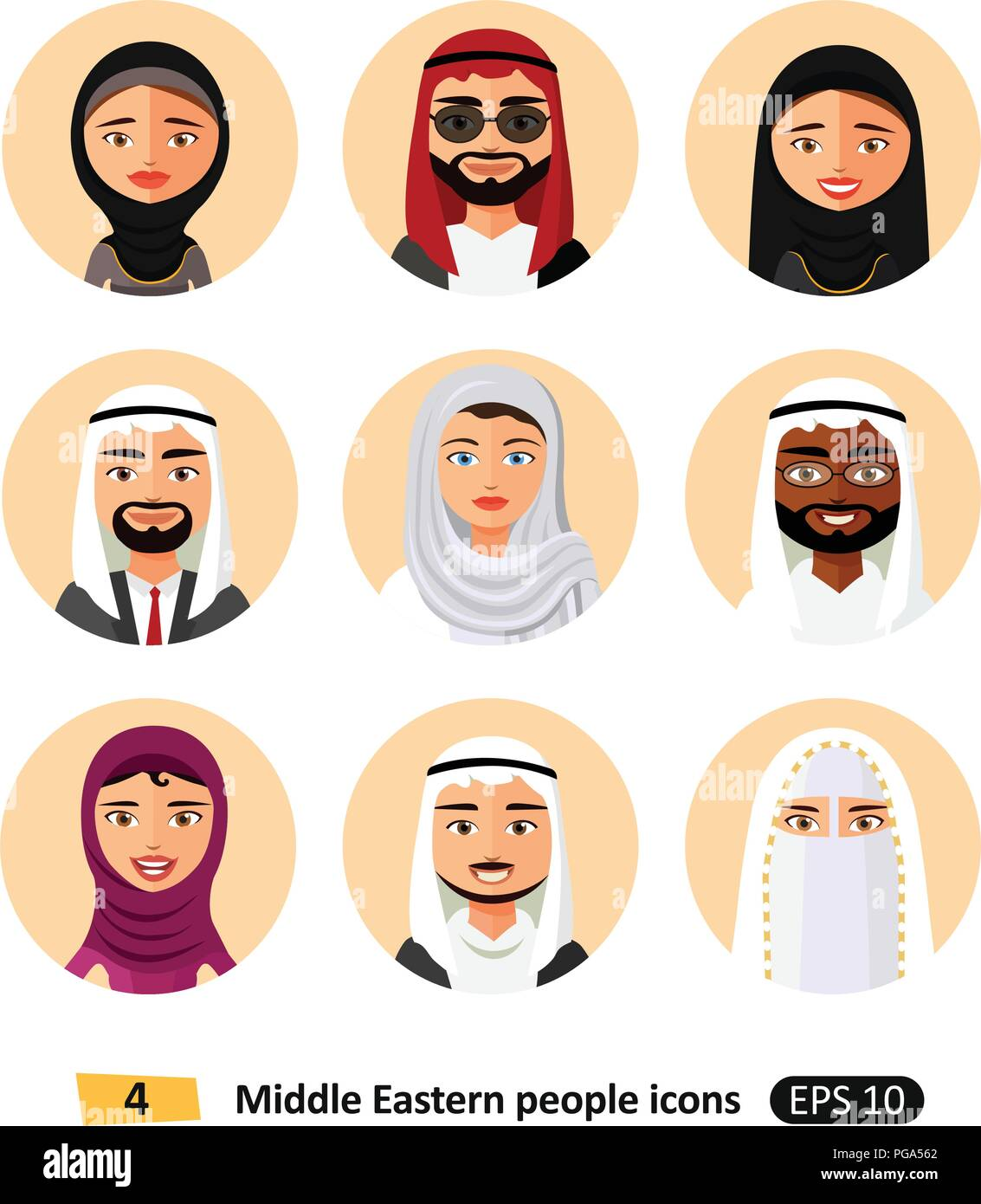 Vector Middle Eastern Arab People Avatars Flat Icons Symbol Stock