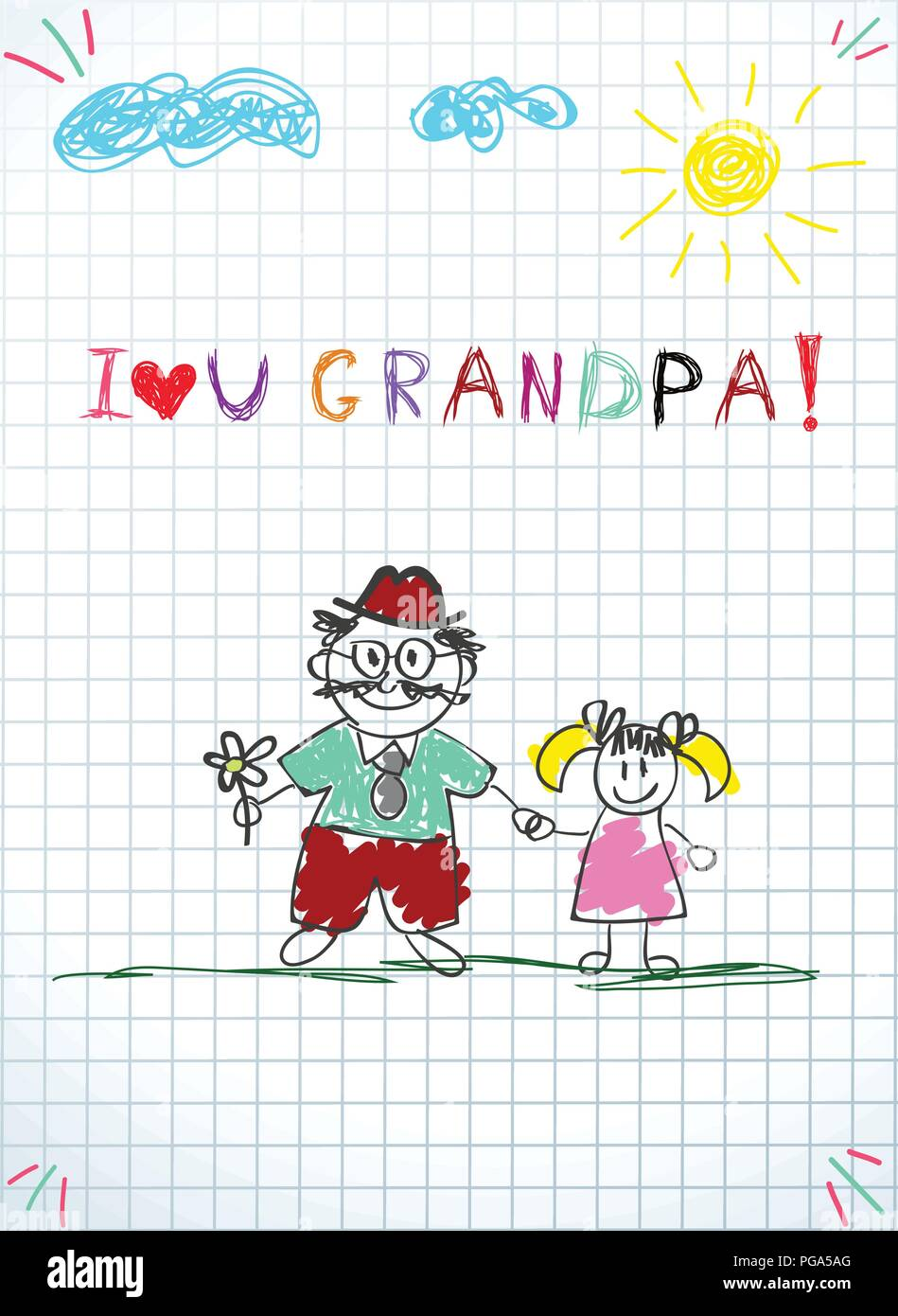 Children Colorful Pencil Drawings Vector Illustration Of Granddad