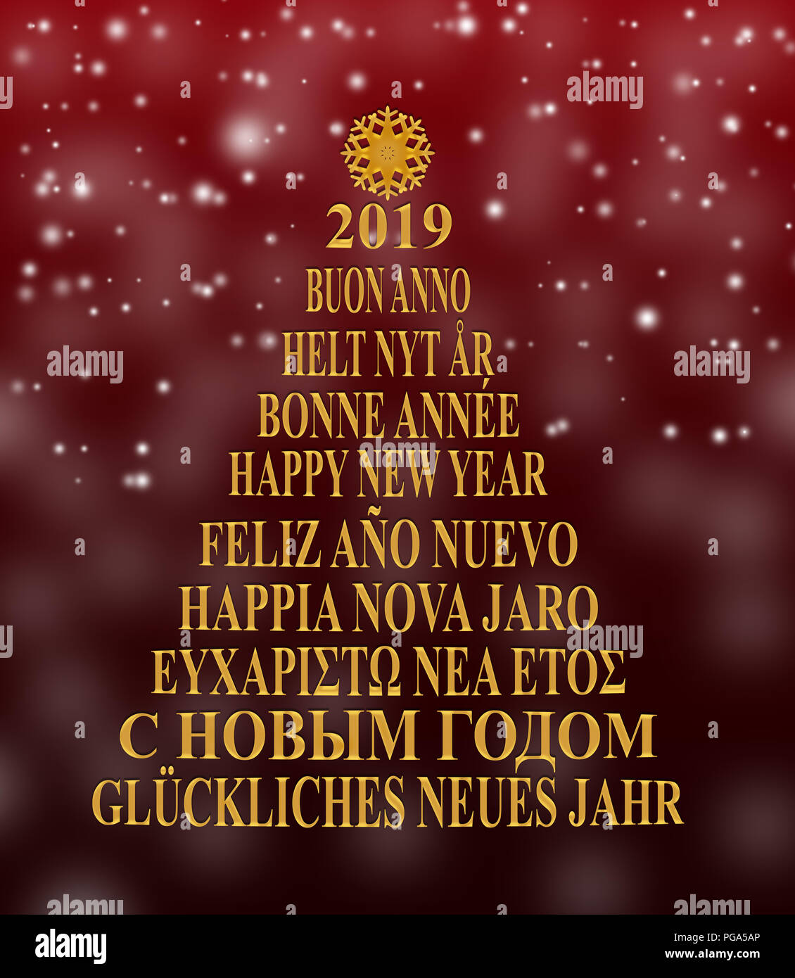 silhouette of the christmas tree from new year greetings in different languages