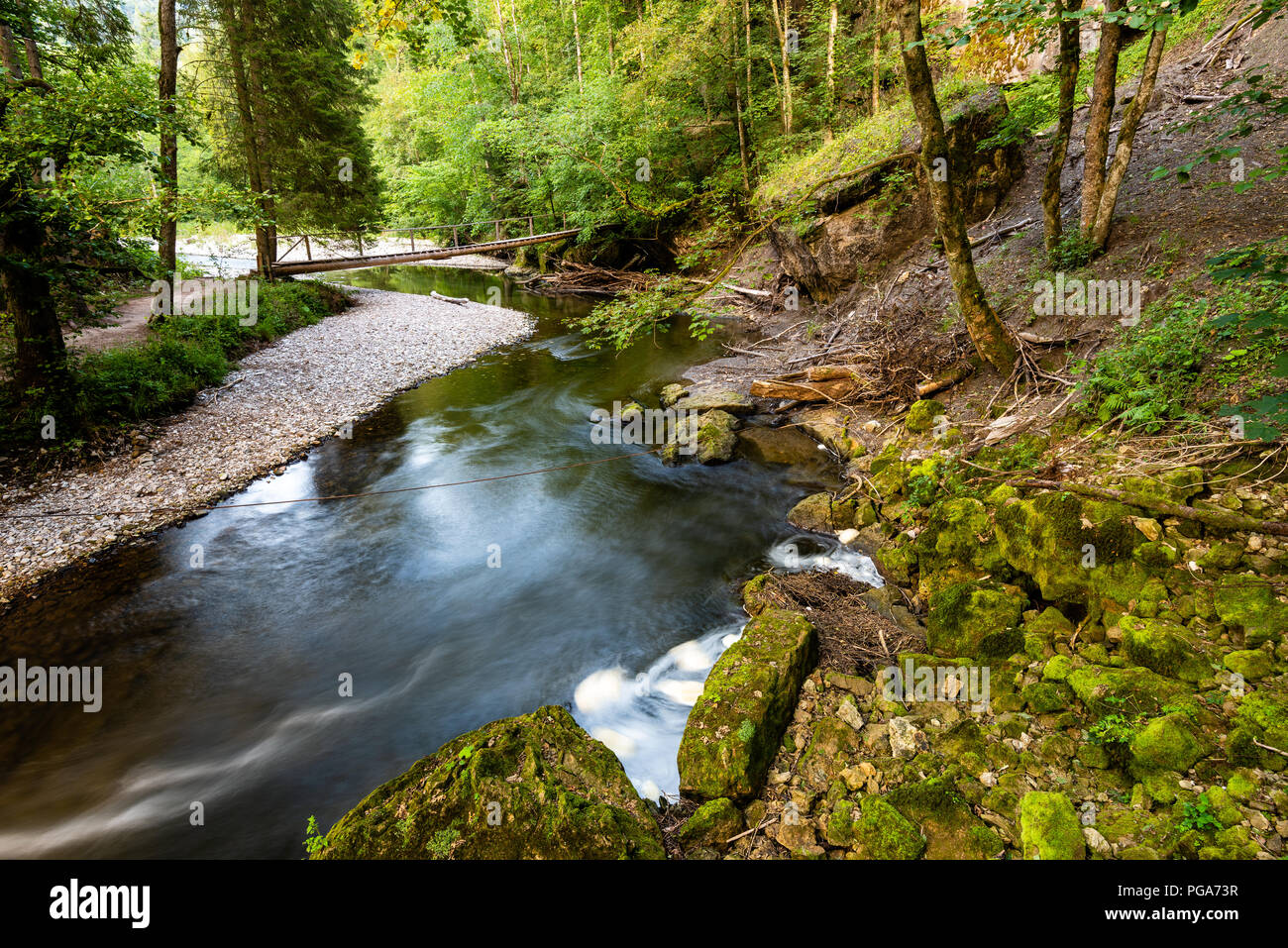 The Wutach Gorge (German: Wutachschlucht) is a narrow, steep-sided valley in southern Germany through in the upper reaches of the River Wutach with th - Stock Image