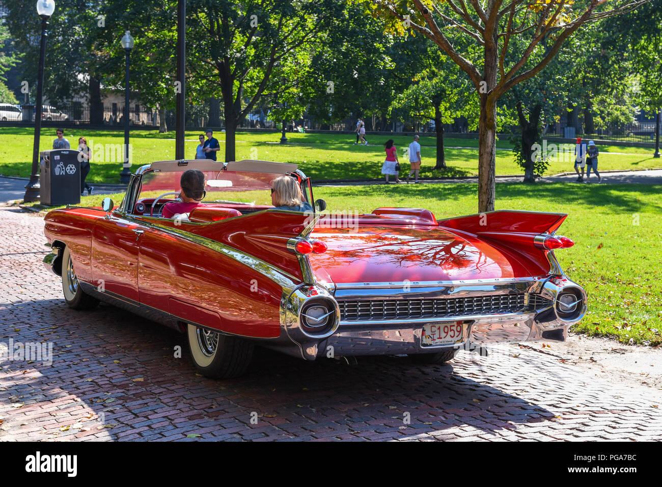 1959 Cadillac Eldorado Convertible Being Driven Through Boston