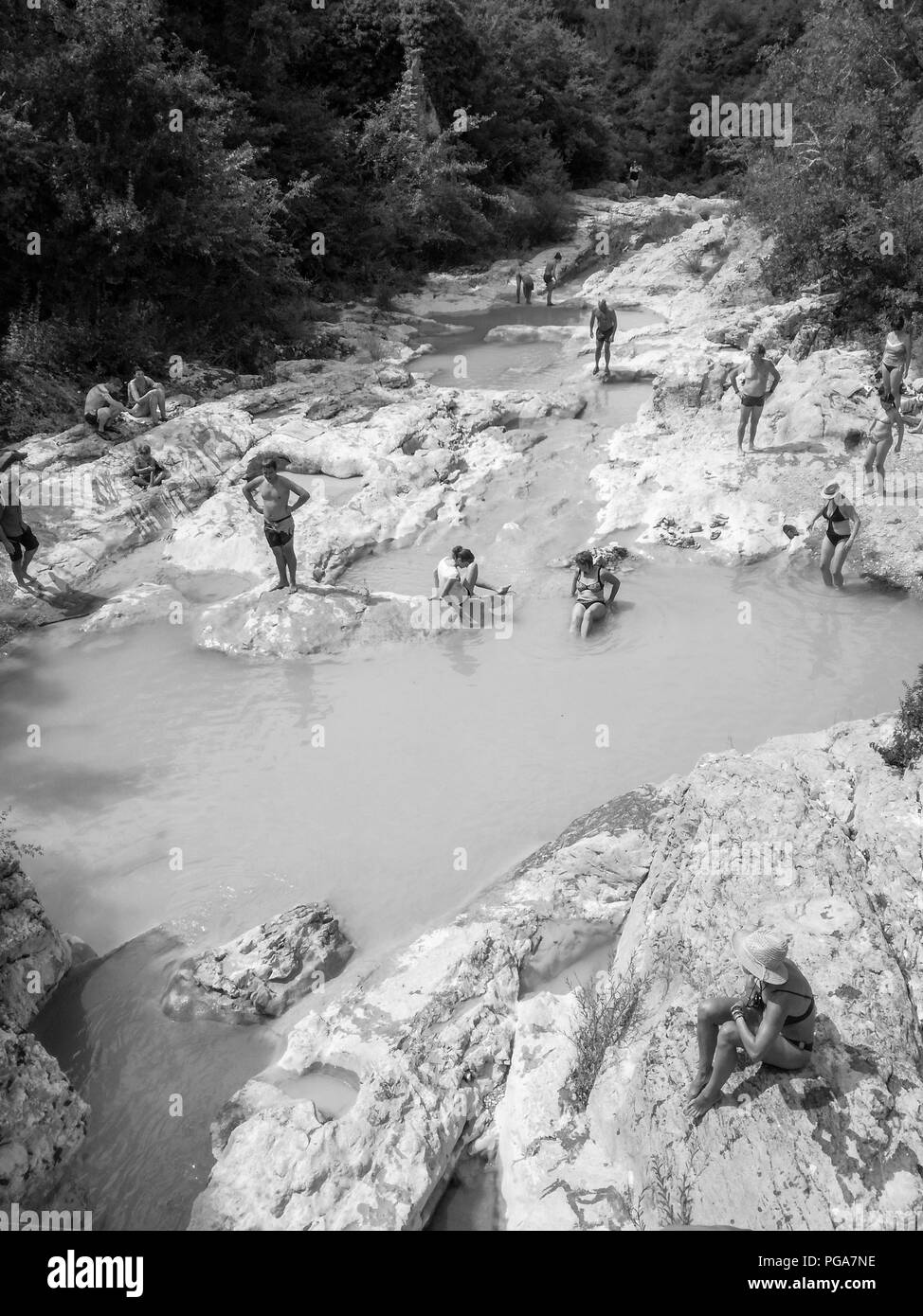 Kotli, Croatia - July 27,2018: View of the Mirna riverbed in Kotli, Croatia. Locals and tourists bathe in the rinsed out waterholes. - Stock Image