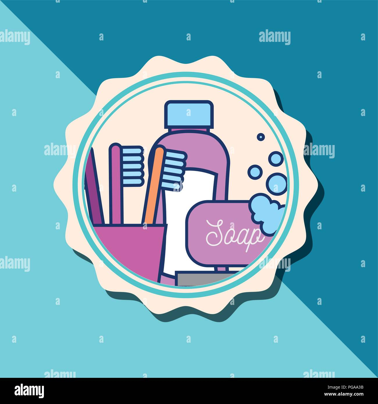 shampoo bottle soap toothbrushes bubbles banner bathroom Stock Vector
