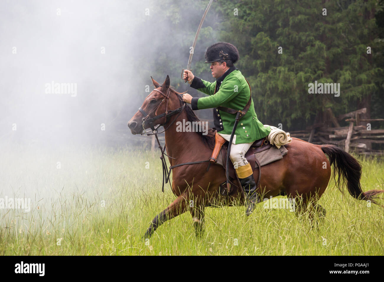 MCCONNELLS, SC (USA) - July 14, 2018:  Revolutionary War reenactors in British uniforms recreate the Battle of Huck's Defeat at Historic Brattonsville - Stock Image