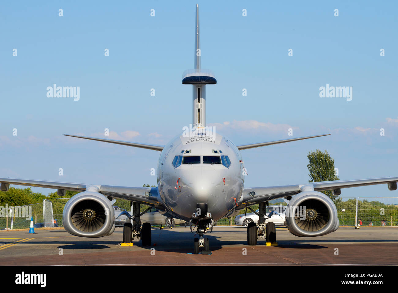 Boeing 737 AEW&C  Royal Australian Air Force RAAF 'Project Wedgetail' designated E-7A Wedgetail at RIAT airshow RAF Fairford - Stock Image