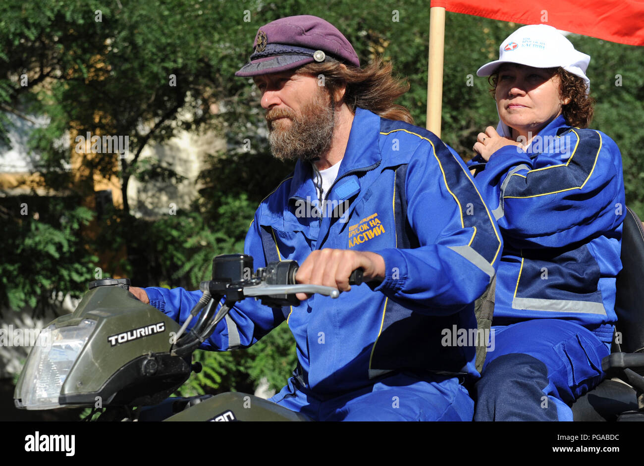 Fedor Konyukhov russian traveller, voyager, aerial and marine explorer during his visit in Astrakhan, Russia. - Stock Image