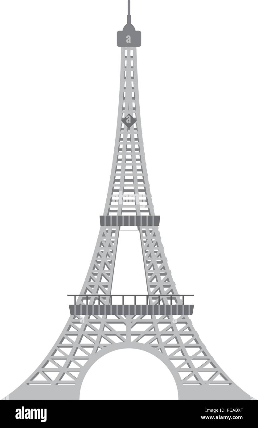 eiffel tower architecture from paris france - Stock Vector