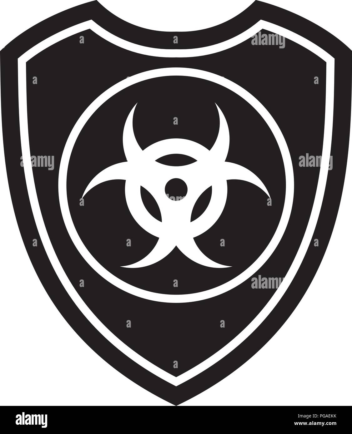 Icon Of Biohazard Shield Defense Protection Or Safety Symbol Sign