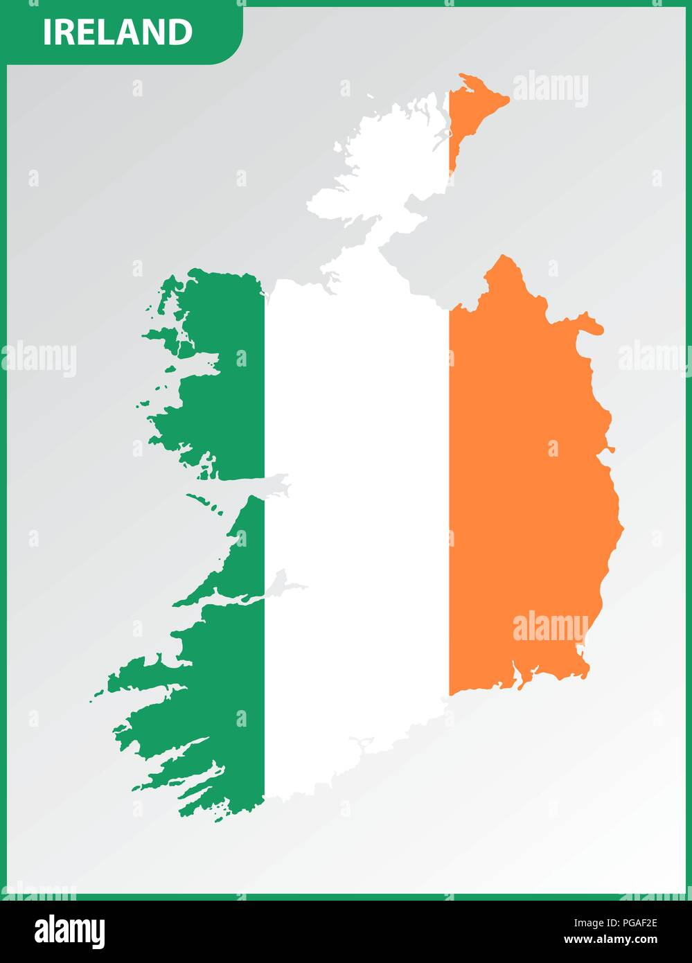 Detailed Map Of Ireland.The Detailed Map Of Ireland With National Flag Stock Vector Art