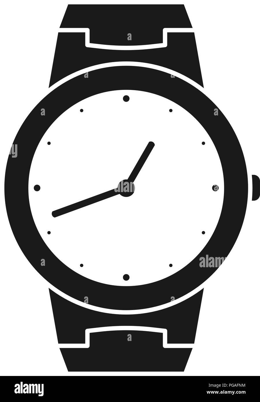 Icon of wrist watch. Symbol of hand clock. Illustration of timepiece, chronometer - Stock Image