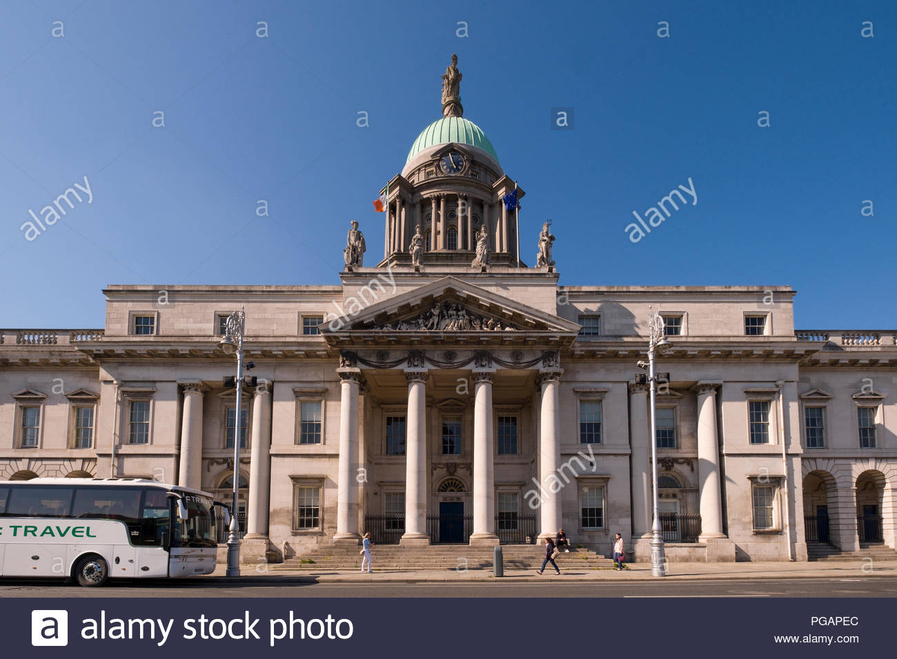 The Custom House, a masterpiece of European neo-classicism architecture, North Dock, Dublin, Leinster, Ireland - Stock Image