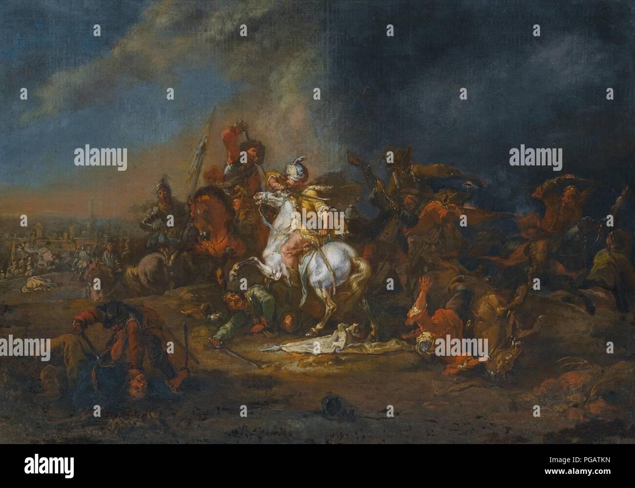 August Querfurt - Kavallerie-Gefecht zwischen Türken und Christen (01). - Stock Image
