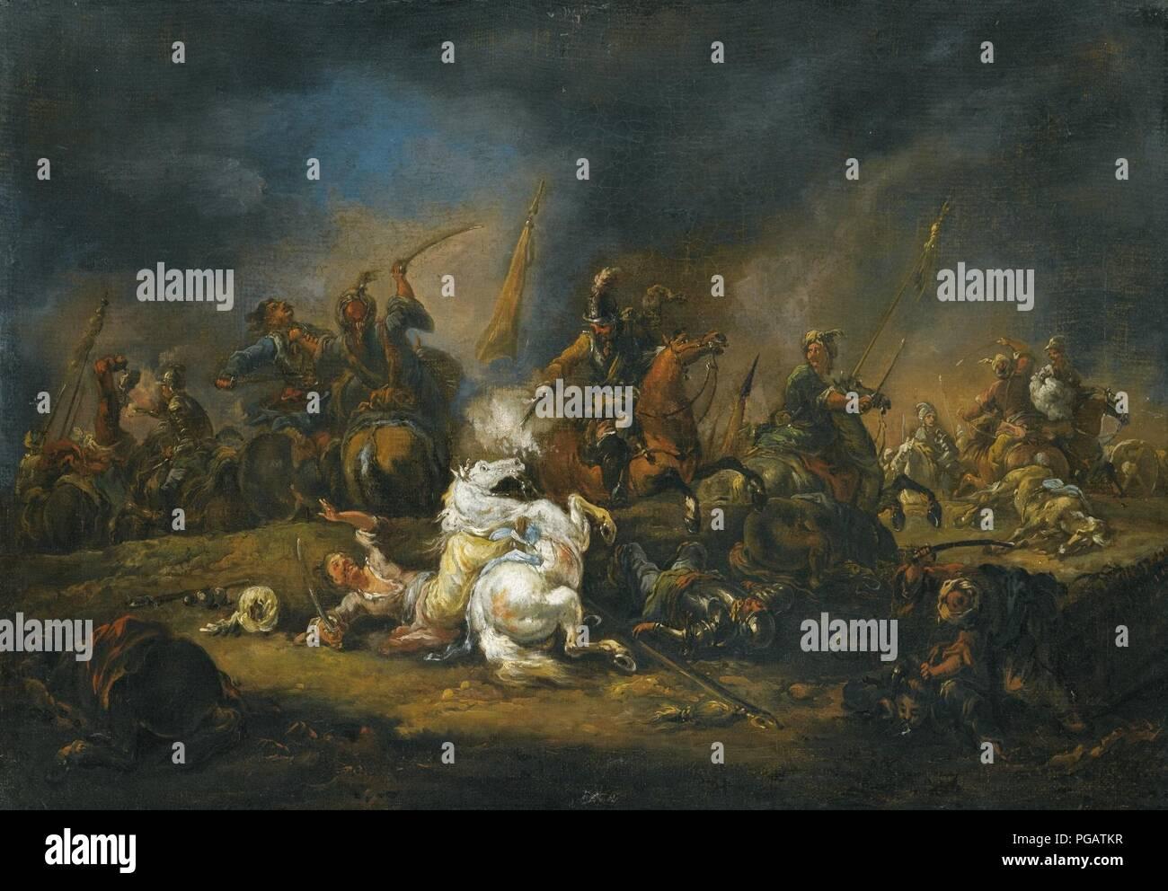 August Querfurt - Kavallerie-Gefecht zwischen Türken und Christen (02). - Stock Image