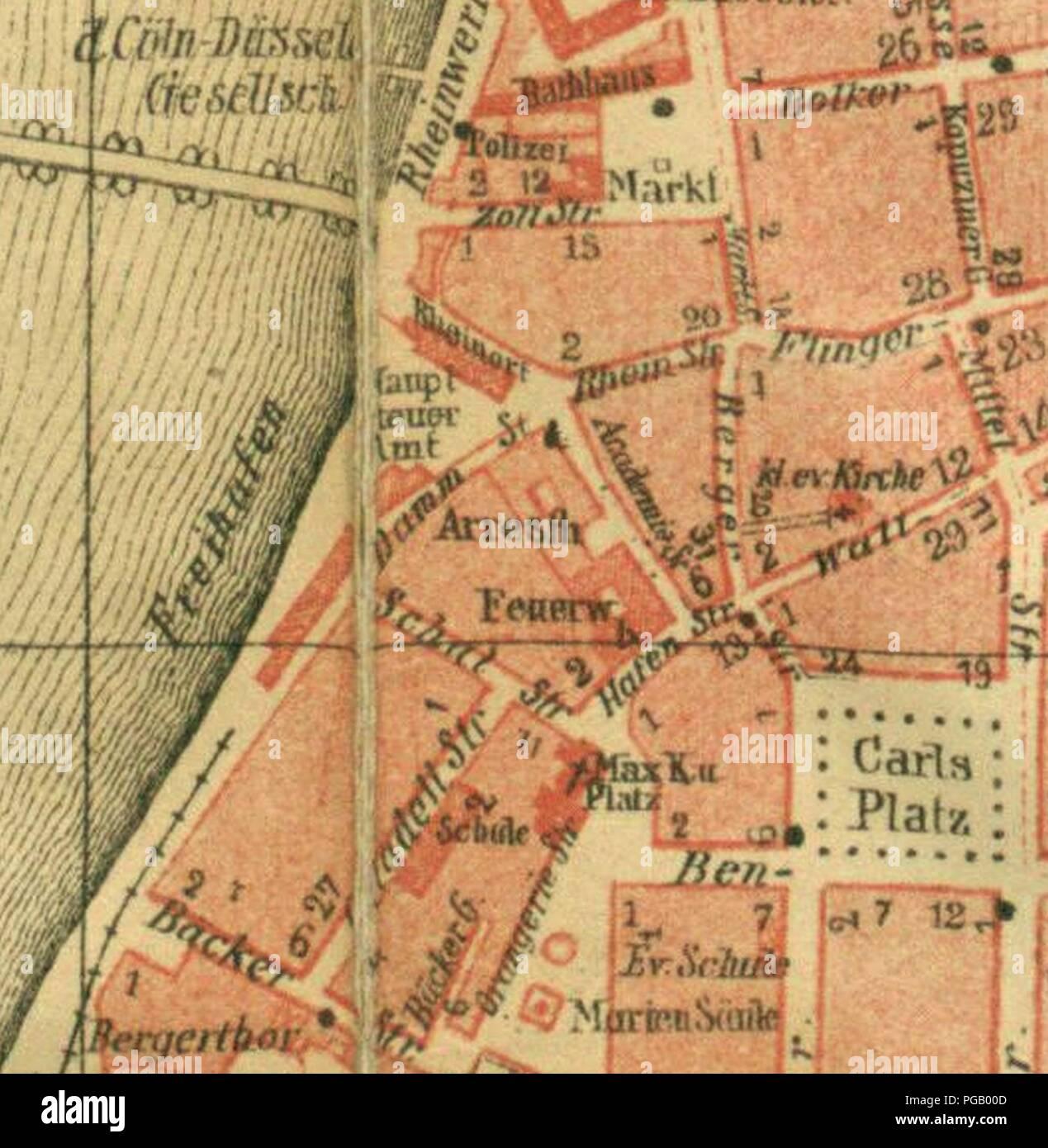 Ausschnitt Karte Von Dusseldorf Carlstadt Und Altstadt Vor 1880