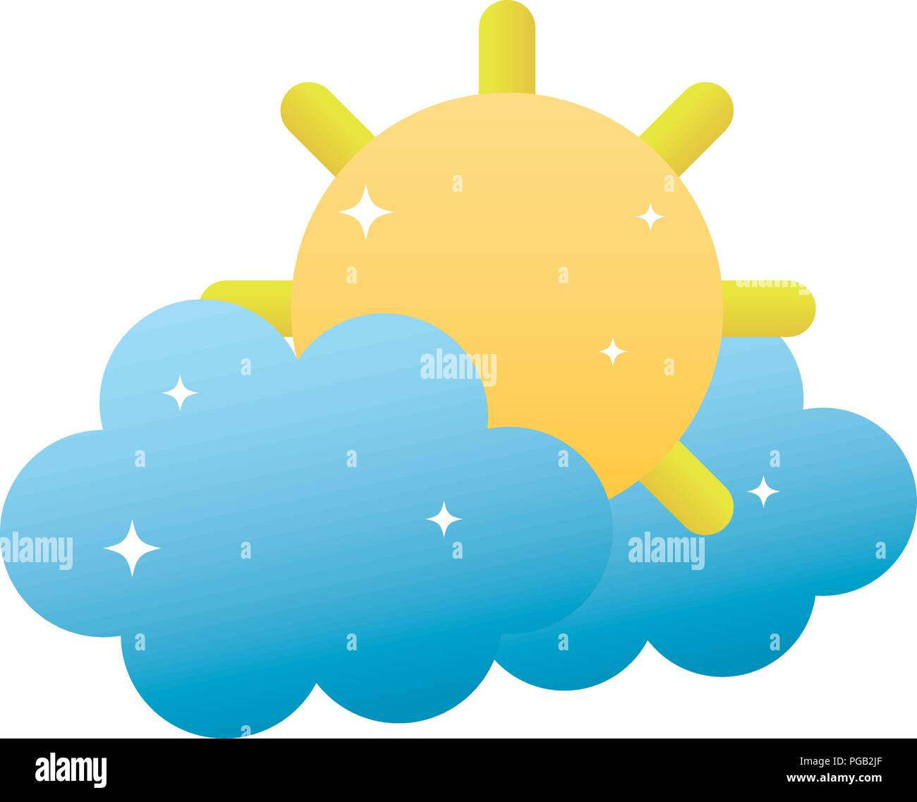 tropical sun and hot weather with clouds - Stock Vector