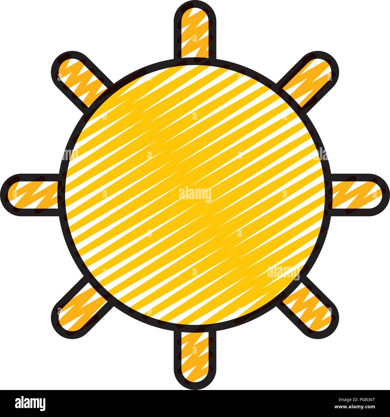 doodle shine sun ray to summer weather - Stock Vector