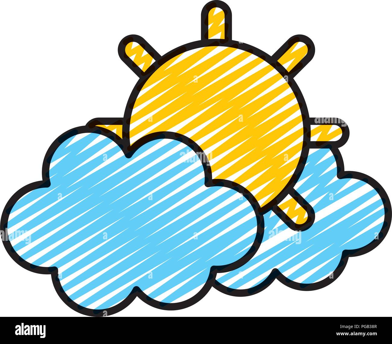 doodle tropical sun and hot weather with clouds - Stock Vector