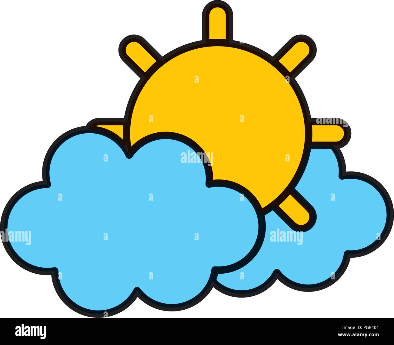 color tropical sun and hot weather with clouds - Stock Vector