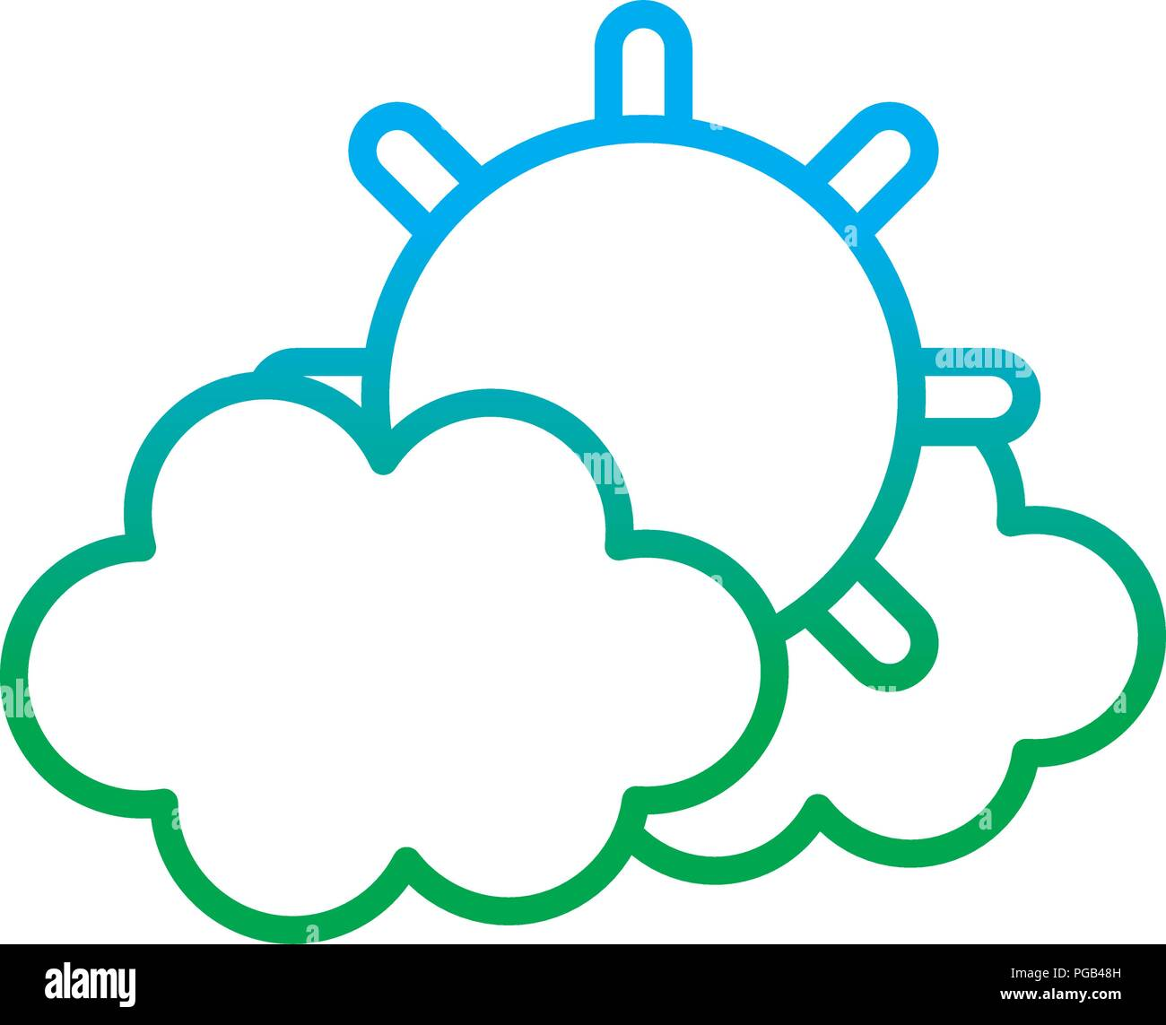 degraded line tropical sun and hot weather with clouds - Stock Vector