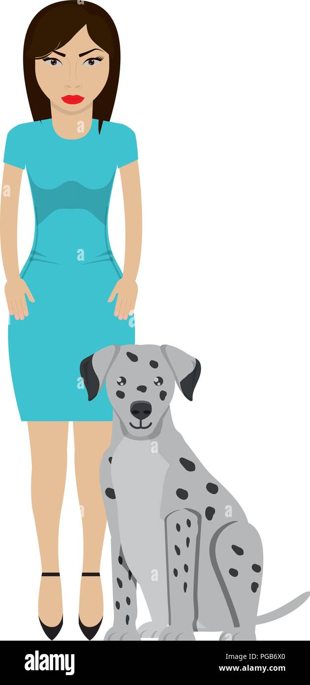 Cute dalmatian dog and Young woman wearing casual clothes  - Stock Vector