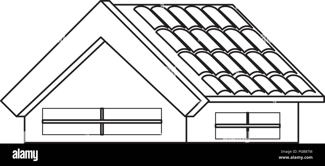 House Roof Icon Over White Background Vector Illustration Stock