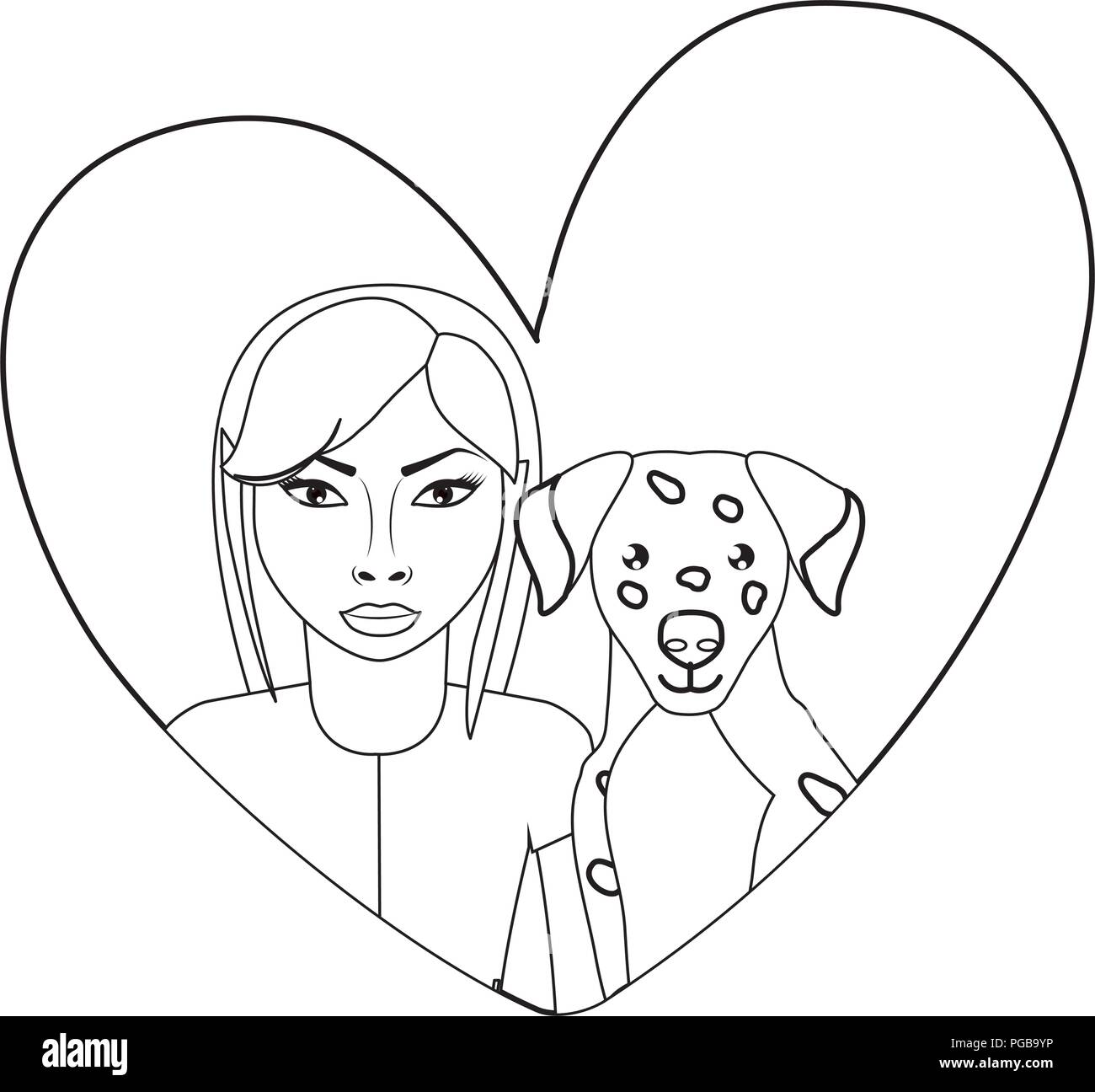 heart with cute dalmatian dog and woman over white background, vector illustration  - Stock Vector