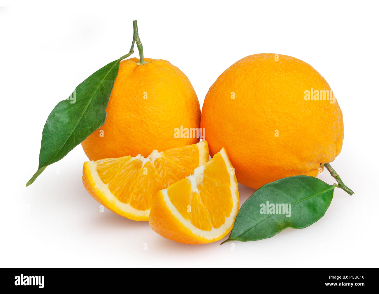 Oranges isolated on white background with clipping path - Stock Image