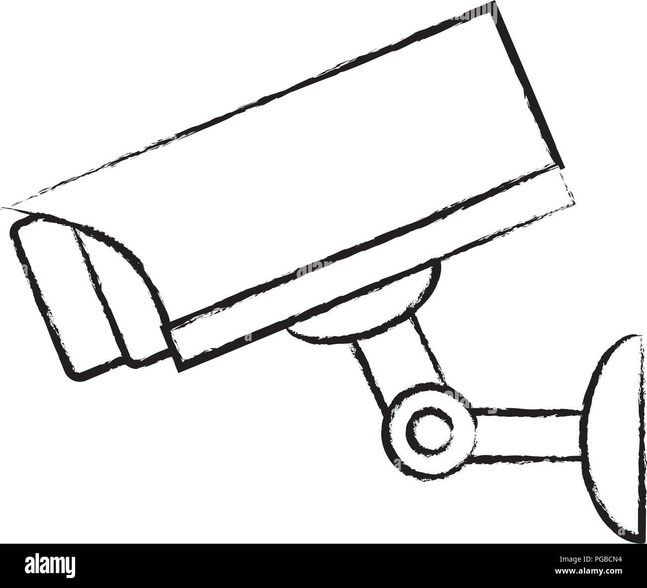 surveillance camera icon over white background, vector illustration - Stock Image