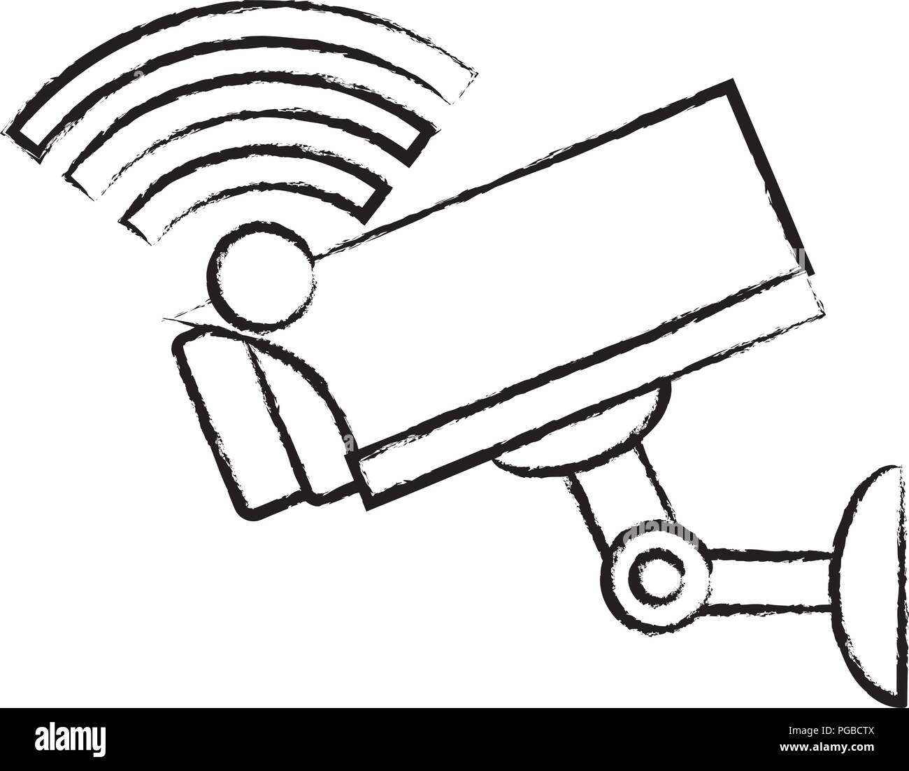 wifi symbol and surveillance camera icon over white background, vector illustration Stock Vector