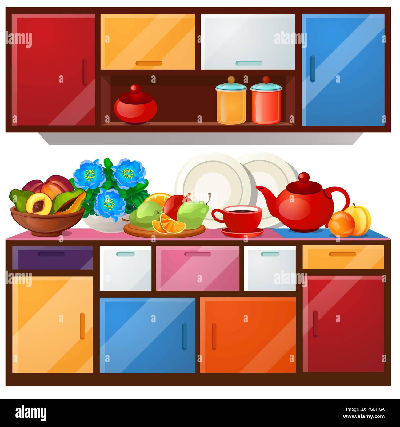 Colored Kitchen Cupboard Dishes And Fresh Fruit Isolated On