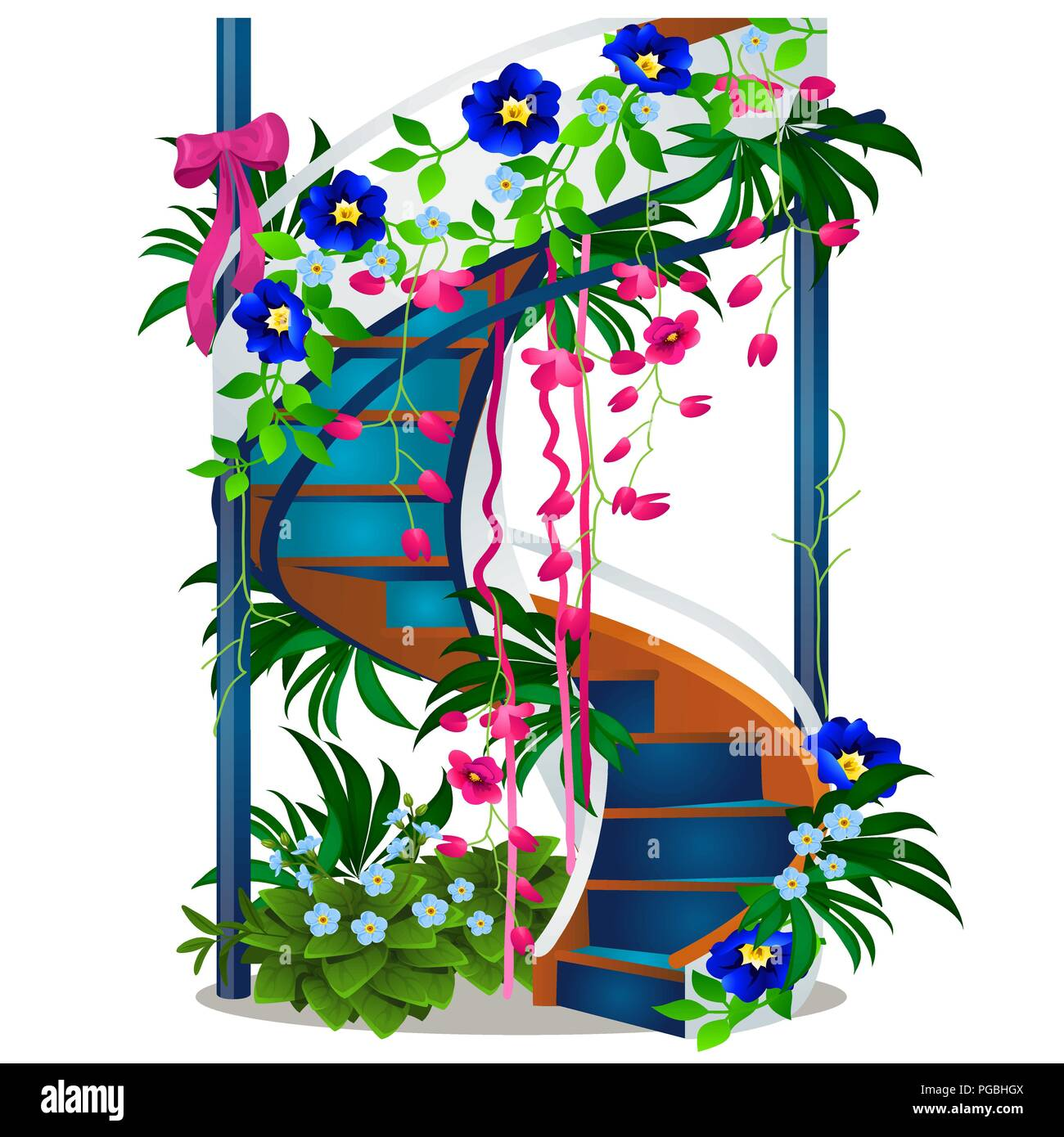 A beautiful spiral staircase with flowers isolated on white a beautiful spiral staircase with flowers isolated on white background vector cartoon close up illustration izmirmasajfo