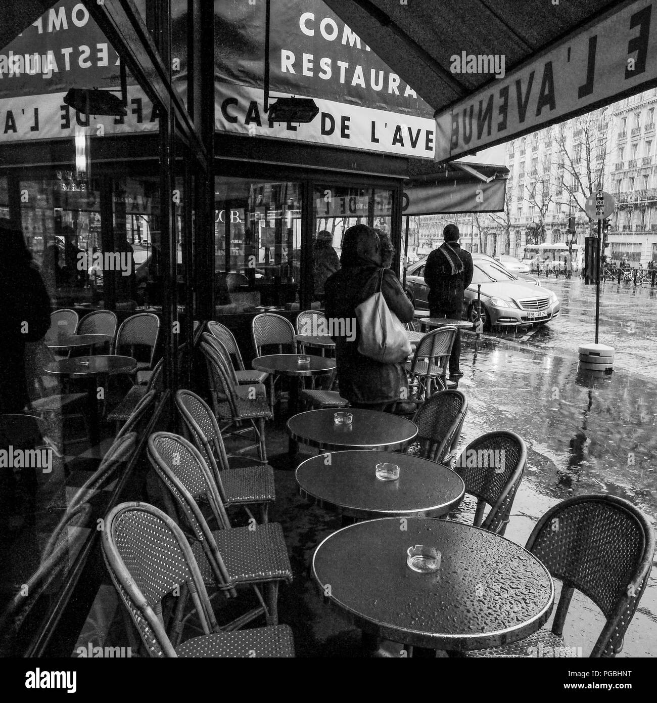 B&W square view of Paris streets in winter, Paris, Ile-de-France, France Stock Photo