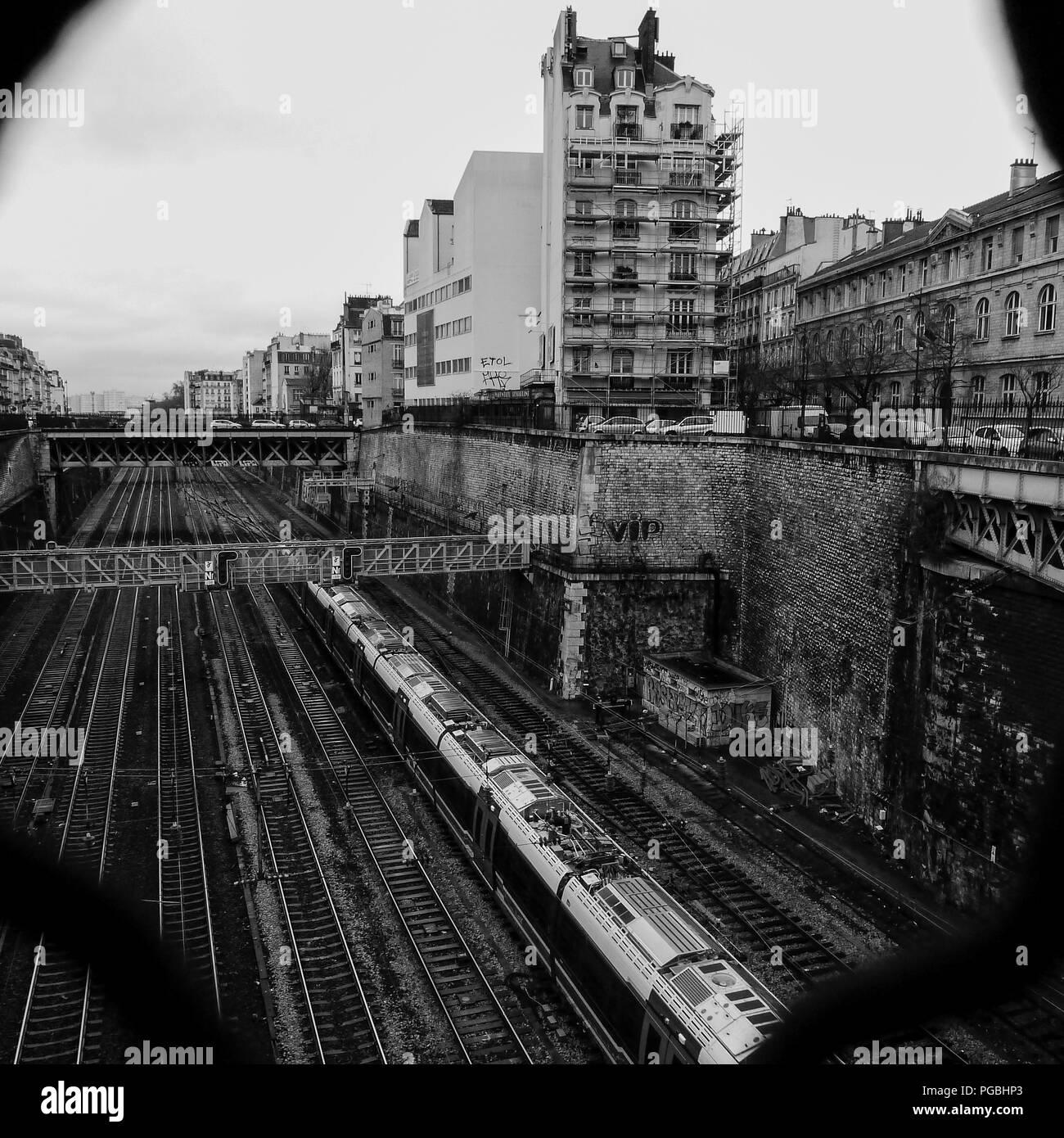 B&W square view of Paris streets in winter, Paris, Ile-de-France, France - Stock Image