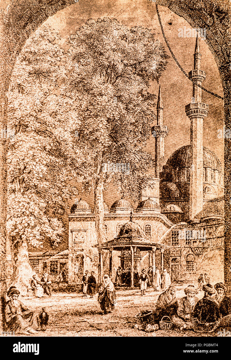The Tomb of Kair Ed Din Barbarossa said in Constantinople, place revered by Muslims (Print XIX Century) - Stock Image